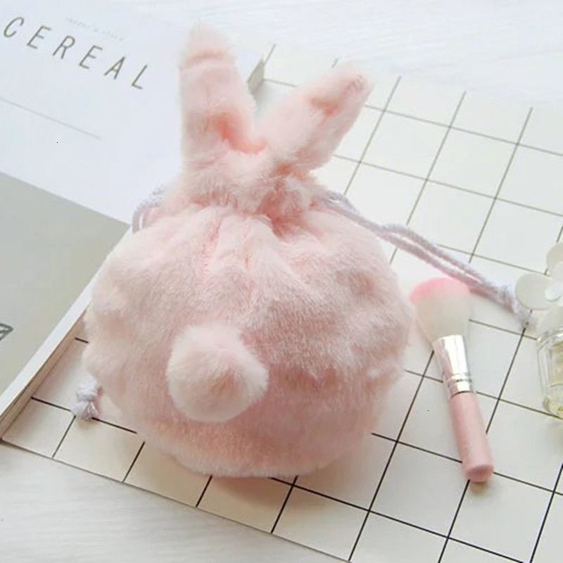 2019 1pc Plush Drawstring Cute Pink  Bag Lovely Rabbit Makeup Pouch Toiletry Storage Pocket Bag