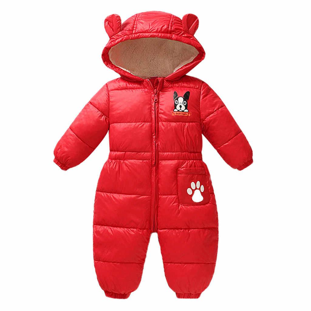 新生児冬防寒着ジャンプスーツ幼児服ベビー少年少女漫画暖かい厚手のロンパースフード付き衣装雪の摩耗パーカー