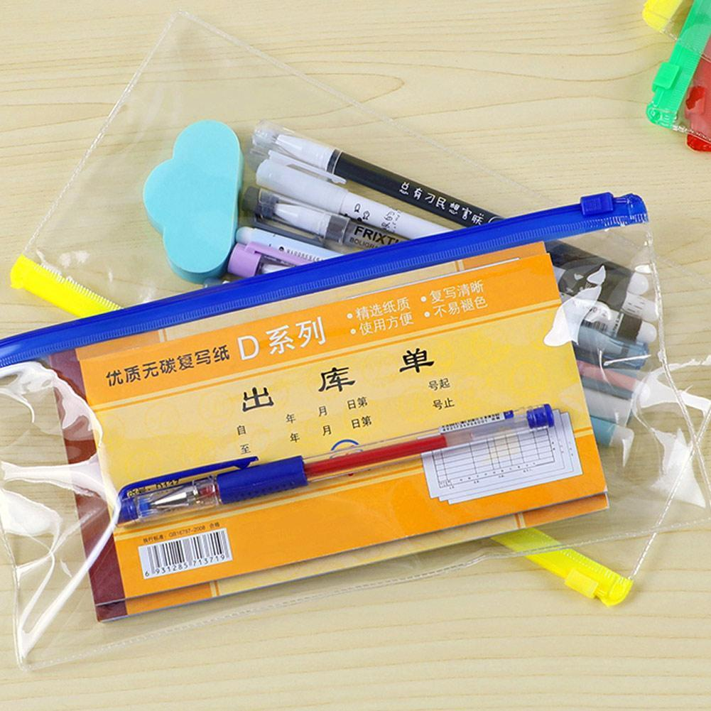 1PC Waterproof Transparent PVC Zipper Bag File Folder Filing Store Bag School Document Office Stationery Supplies Bag R8B2