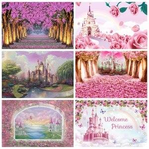 Image 1 - Laeacco düğün Photophone doğum günü yenidoğan arka Wonderland orman pembe çiçekler ağacı kale prenses fotoğraf Backdrop