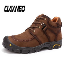 CLAXNEO Man Boots Plush Fur Warm Male Winter Boot Casual Mens Snow Shoes Walking Footwear