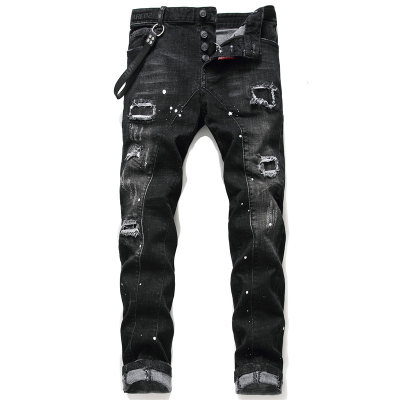 New Men Skinny Jeans Stretch Printed Ripped Black Jeans For Men Paint Trousers Clothes Streetwear Spring Autumn Winter Hip Hop