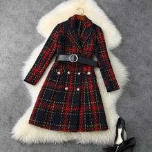 STREET New HIGH Fashion 2021 designerska bluzka płaszcz damski z długimi rękawami tanie tanio Poliester CASHMERE CL (pochodzenie) Zima long L201118230 Osób w wieku 18-35 lat Skręcić w dół kołnierz Podwójne piersi