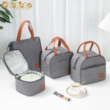 Spot Thermal Lunch Bag for Men Women Fashion Gray Tote Oxford Cloth Aluminum Foil Insulation Shoulder Bag Waterproof Picnic Bag