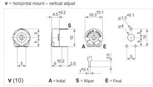 100% Новый оригинальный потенциометр для обрезки PIHER, горизонтальный Регулируемый переключатель отверстия, шестигранный переключатель отве...