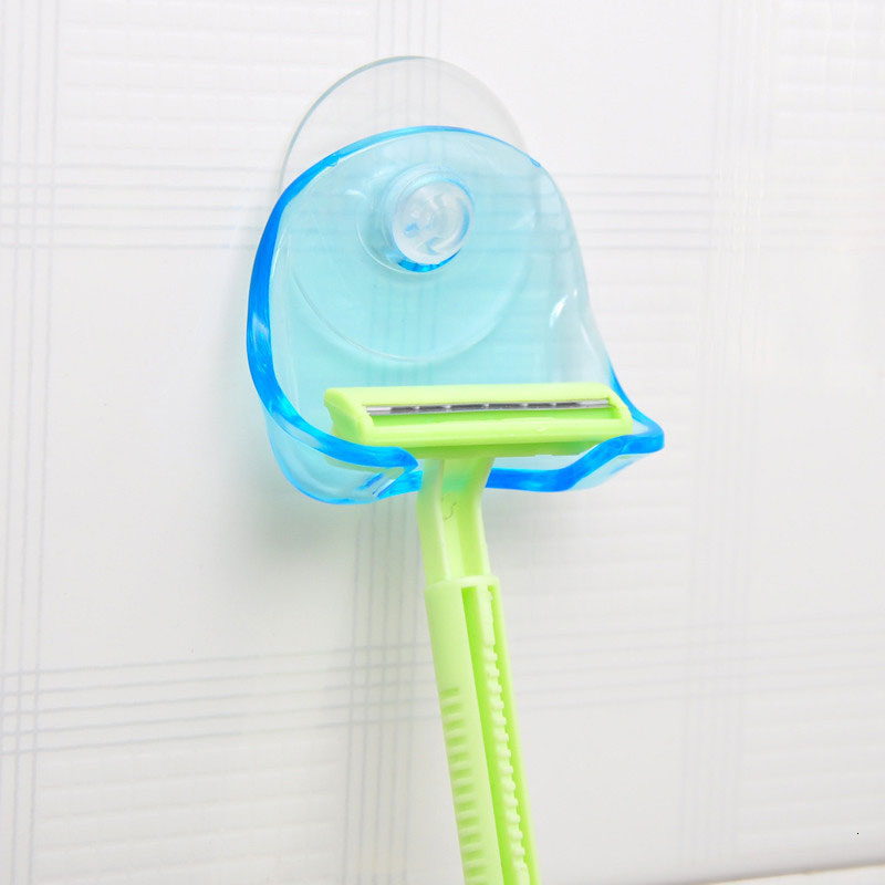 Shaver Toothbrush Holder Washroom Wall Sucker Suction Cup Hook Manual Razor Bathroom Storage Shaving Rack Bathroom Accessories