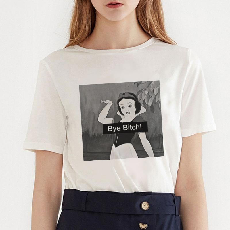 Summer Cartoon Harajuku Princess T Shirt O-Neck Punk Aesthetics TShirt Bye Bitch Print Casual Short Sleeve Streetwear Women Tops