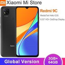 Versão global xiaomi redmi 9c telefone móvel 9 c 64gb rom 3gb ram 13mp câmera mtk helio g35 5000mah bateria smartphone