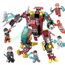 DIY 1182 Superhero Avengers Terminator 8 in 1 Iron Man Machine Miracle Tony Stark mk1 Digital Assembly Building Blocks Toy gifts