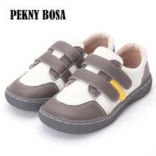 PEKNY BOSA marka yürümeye başlayan çocuklar loaferlar Moccasins katı Anti kayma çocuk yalınayak ayakkabı deri rahat ayakkabılar erkek kız 25 35