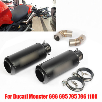 Slip on Motorcycle Exhaust Tip System Muffler Escape Tail Middle Mid Link Tube Pipe for Ducati Monster 696 695 795 796 1100 motorcycle front brake clutch fluid reservoir cover for ducati monster 696 monster 795 monster 796