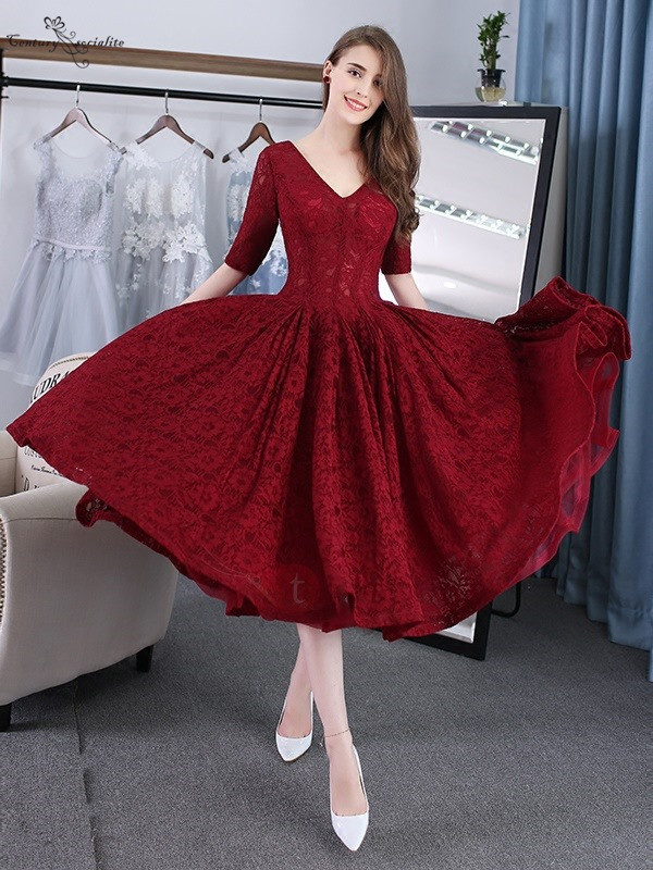 Burgundy Short Prom Dresses 2020 Lace Tea-Length Half Sleeves V-Neck Corset Back Graduation Homecoming Dress Evening Party Gowns