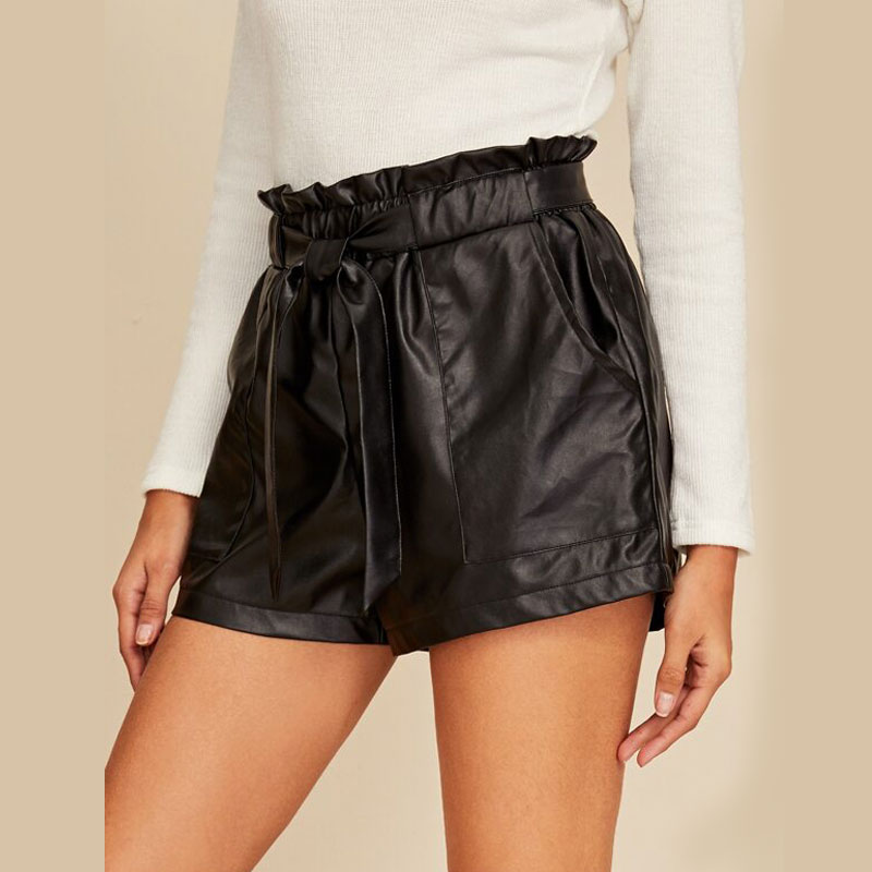 Womens Ladies PU Leather Shorts 2020 New PVC Wet Look High Waist Paper Bag Hot Shorts Casual Shorts Bottoms