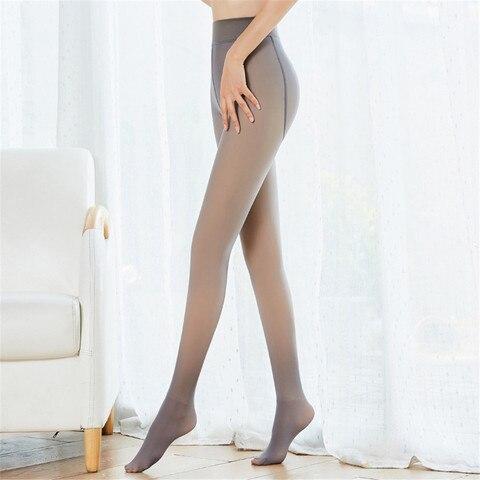 Meias para Calças de Inverno Meia-calça Engrossada Original Quente Fleece Pernas Falso Translúcido Magro Elástico lã