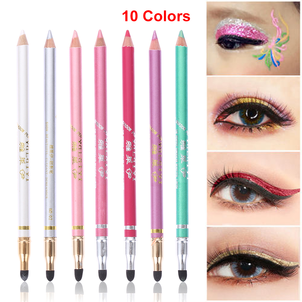 10 Colors Double head Eyeliner Pencil with Sponge head Glitter Shimmer Eyeshadow Matte Eye Makeup Eye Liner Pen