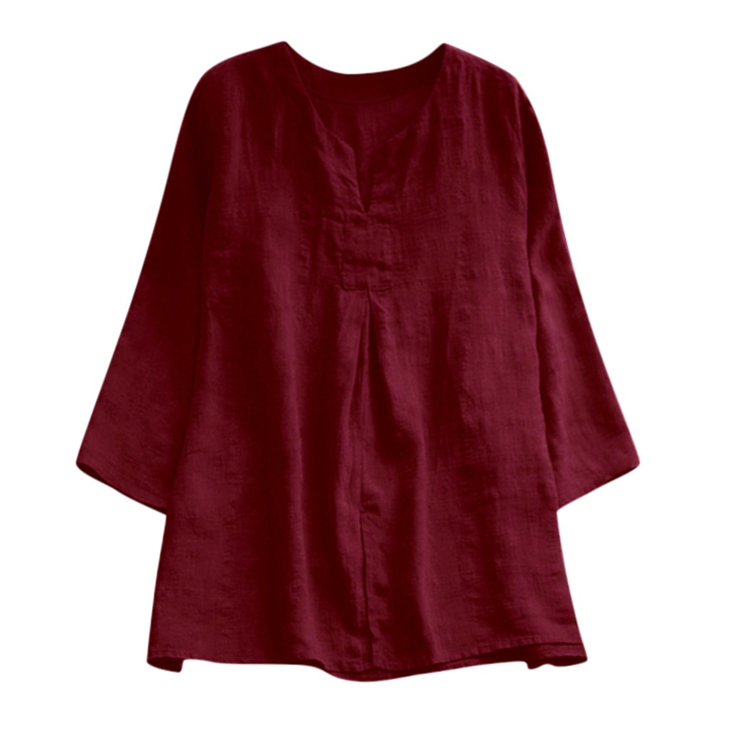 Blouse Women Casual V-Neck Vintage Solid Long Sleeve Linen Plus Size Tanic Blouse Tops Fashion Office Blouse 2020блузка женская