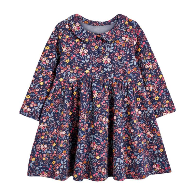 Little maven kids girls fashion brand autumn children's dress baby girls clothes Cotton floral print toddler girl dresses S0845 1
