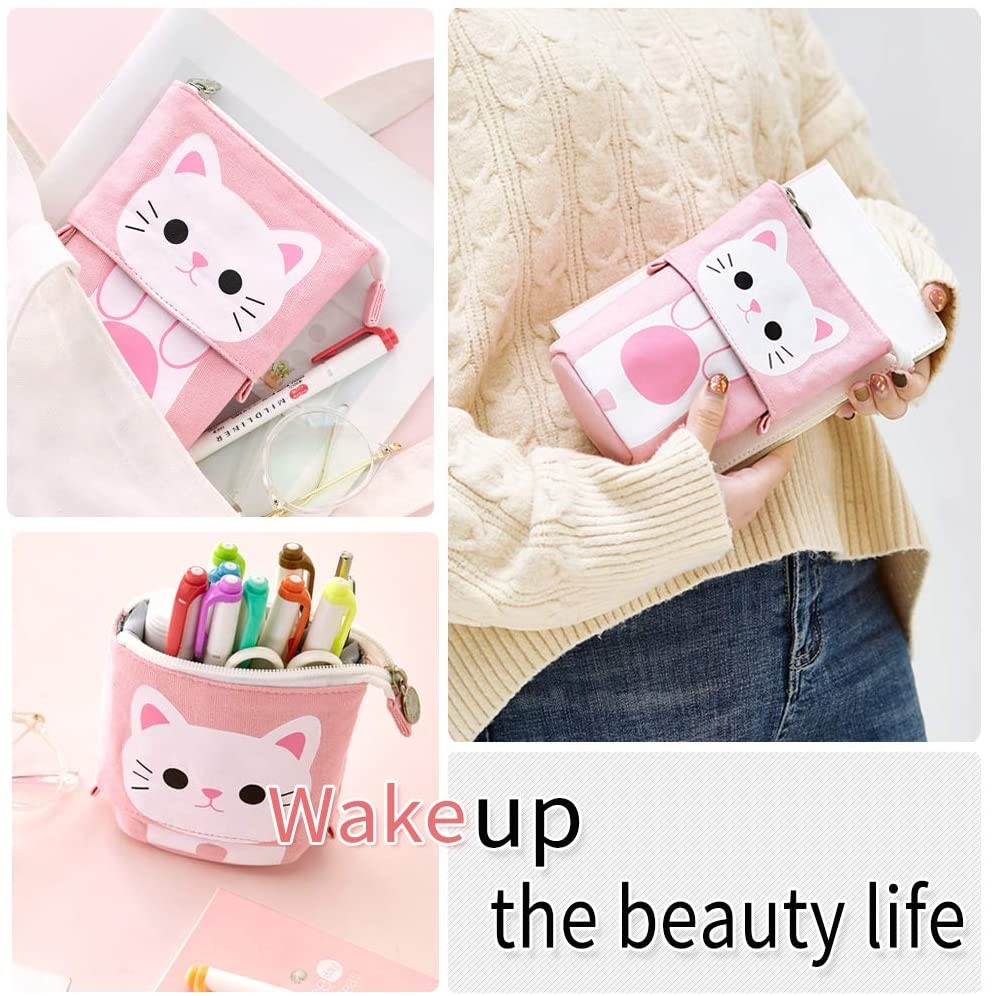 Angoo [Fun] Pen Pencil Bag Case, Cartoon Cute Cat Bear Sheep Canvas Fold Standing Holder Stationery Organizer Kids Gift A6445 6