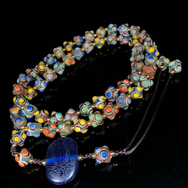 Nepal Ancient Glass Glaze Hand Painted Wisdom Eye Round Beads Strands 12mm Multi Colors Trade Glass Beads 54 Beads Prayer Beads