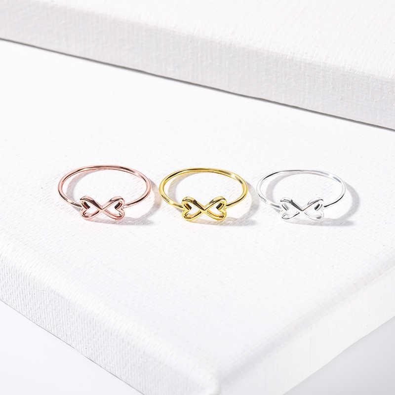 Мода Бесконечная любовь навсегда сердце кольца для женщин ювелирные изделия из нержавеющей стали пара дружбы Anillos подарок для невесты на день рождения