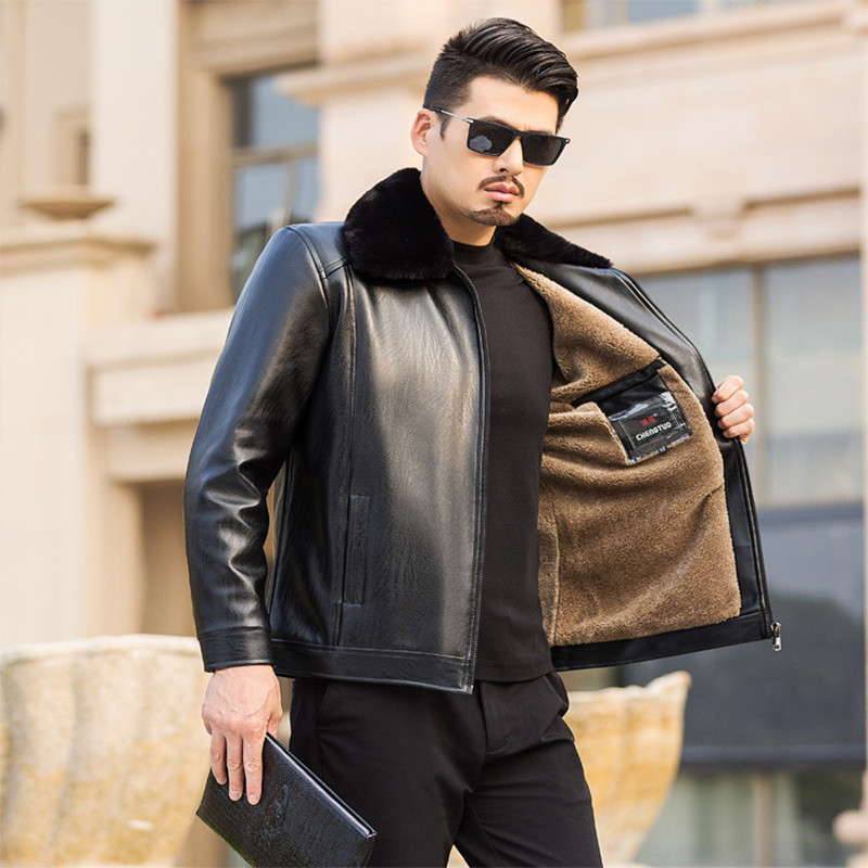New 2019 Winter Motorcycle Male PU Leather Jacket Men Windbreaker PU Jackets Male Outwear Warm PU Baseball Jackets Size 50-62