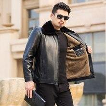 New 2019 Winter Motorcycle male PU Leather Jacket Men Windbreaker Jackets Male Outwear Warm Baseball Size 50-62