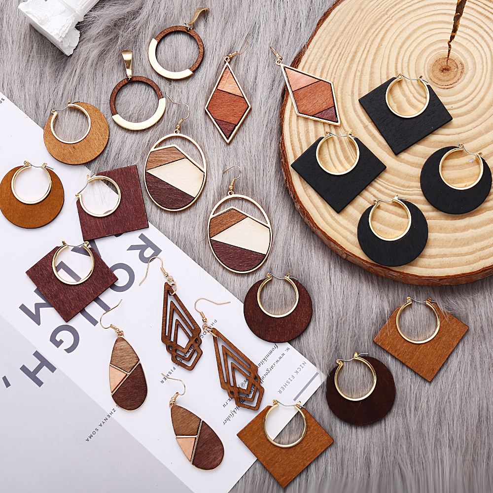 17KM Classic Natural Wood Hollow Dangle Earrings For Women Fashion 3 Color Splice Geometric Drop Earring 2019 New Design Jewelry