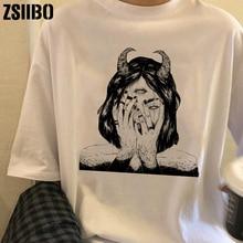 Camiseta vintage vegana para mujer, camiseta femenina Harajuku, camisetas geniales para chicas, camisetas de manga Punk, ropa, camisetas Harajuku