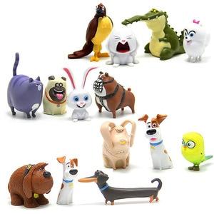 Image 1 - 14 pz/set Animali del fumetto Del Cane Del Coniglio PVC action figure Mini animale gatto uccello Modello figura giocattoli set di regali per I Bambini