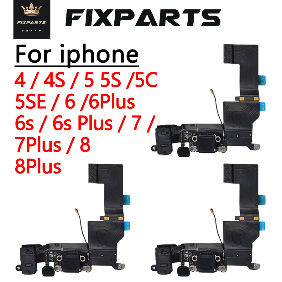 4G 5SE High Quality Charging Flex Cable For <font><b>iPhone</b></font> 4S 5 <font><b>5S</b></font> SE 6 6S 7 8 Plus USB Charger Port Dock <font><b>Connector</b></font> With Mic Flex Cable image
