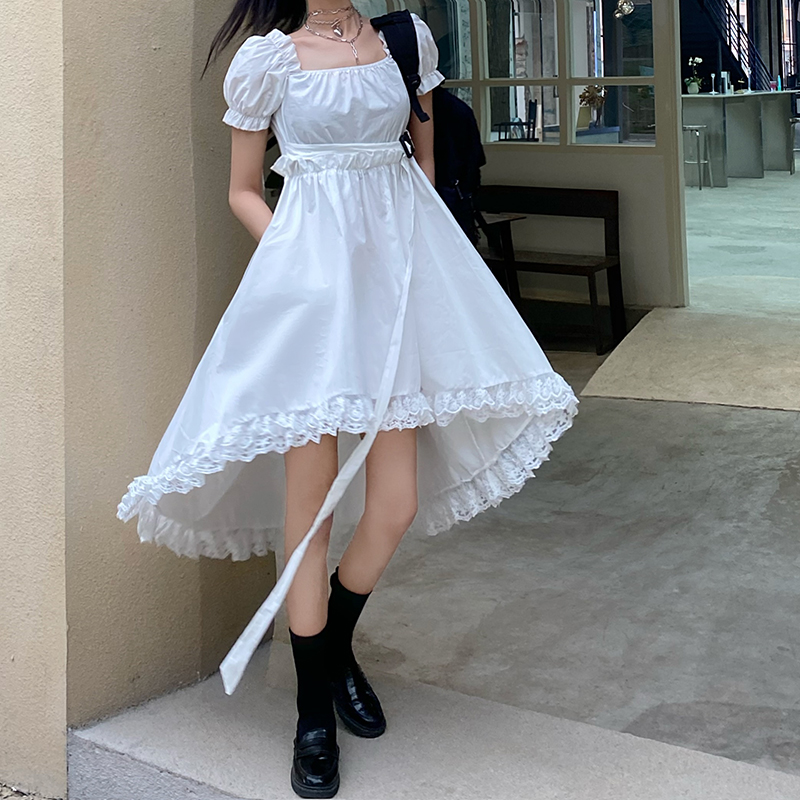 Japanese Sweet Lace Edge Stitching Square Collar Bubble Sleeve High Waist Solid Color Irregular Mid-length Dress Women Summer