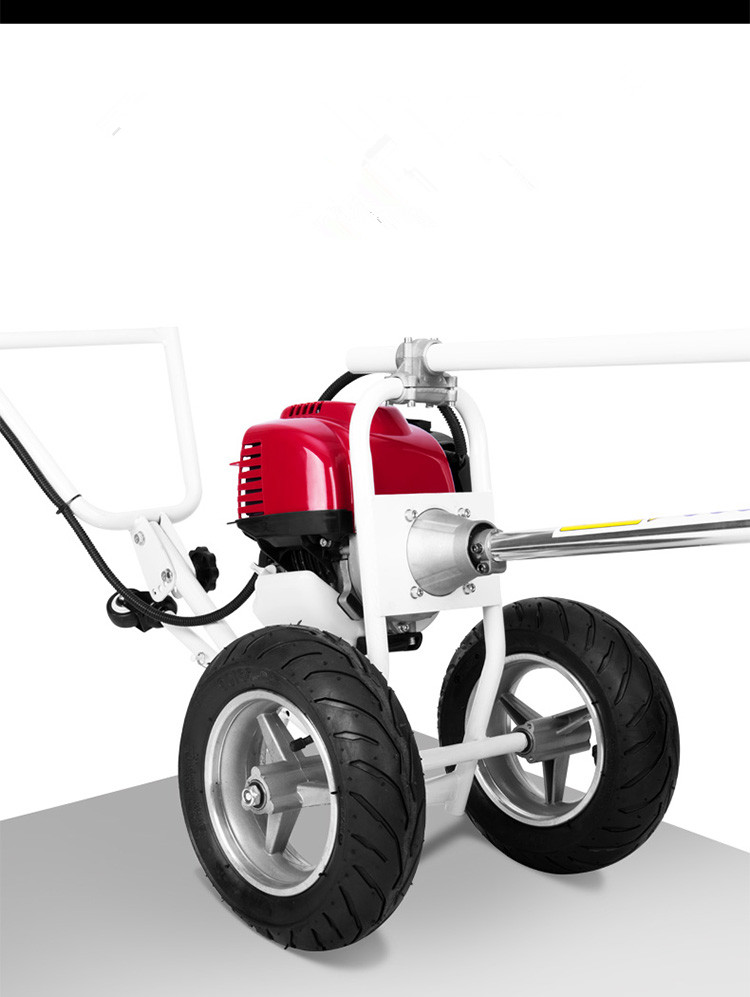 Tools : Professional 4 Stroke 35 8cc 1 2KW GX35 4 in1 Hand Push Brush Cutter with 2 WheelsMini Tiller and Grass Tiller  Nylon head