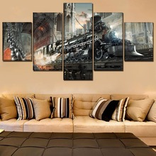 One Set Framework Or Unframed Poster Canvas Art Print Painting 5 Pieces Sci Fi Steampunk Retro Train Home Decorative Artwork