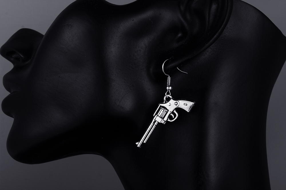 1Pair Retro Pretty 3D Revolver Shape Earring Bullet Gun Shape Ear Stud Earri/_ZT