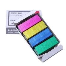 800Pcs/Box 12mm Creative Colorful Metal Staples Office School Binding Supplies