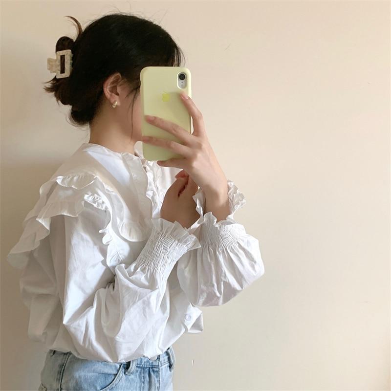 H67394da8fc6743aaaaad84eaa7529c61M - Spring / Autumn Double-Layer Ruffle Collar Long Petal Sleeves Loose Blouse