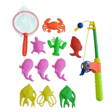 Magnetic Fishing Toy Rod Model Net 10 Fish Kid Children Baby Bath Time Fun Game недорого