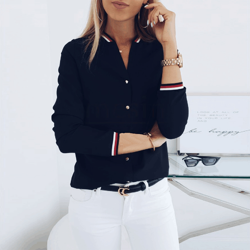 Contrast Women's Casual Shirts 3/4 Sleeve V Neck Spring Autumn Blouses Woman 2019 New Buttons Black Shirt Tops Female Blouse D30