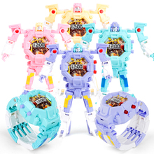 Watch Kids Robot Toy Deformation Robot Action Transformation Wrist Watch Toy Electronic Watch Creative Gifts Educational Toys