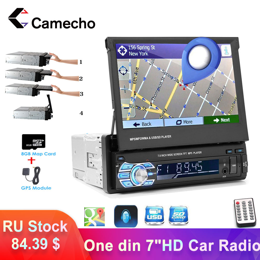 Camecho 1 Din Car radio Multimedia Video Player GPS Navi Android Mirror Link Autoradio Stereo 7 Retractable Touch Screen MP5 image