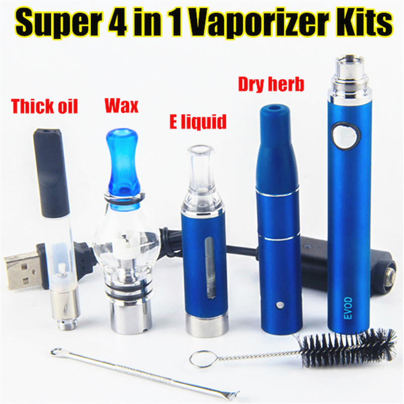 Kingfish EVOD Electronic Cigarette Kits Portable 4 In 1 Vaporizer Herbal Wax Dry Herb Vape Pen Kit 1Pc Battery With 4Pc Atomizer