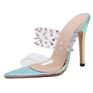 Image 3 - Pzilae 2020 נשים נעלי משאבות אופנה PVC שקוף נעלי שקופיות פתוח הבוהן מחודדת סקסי מסמרת רב צבע עקבים flip צונח