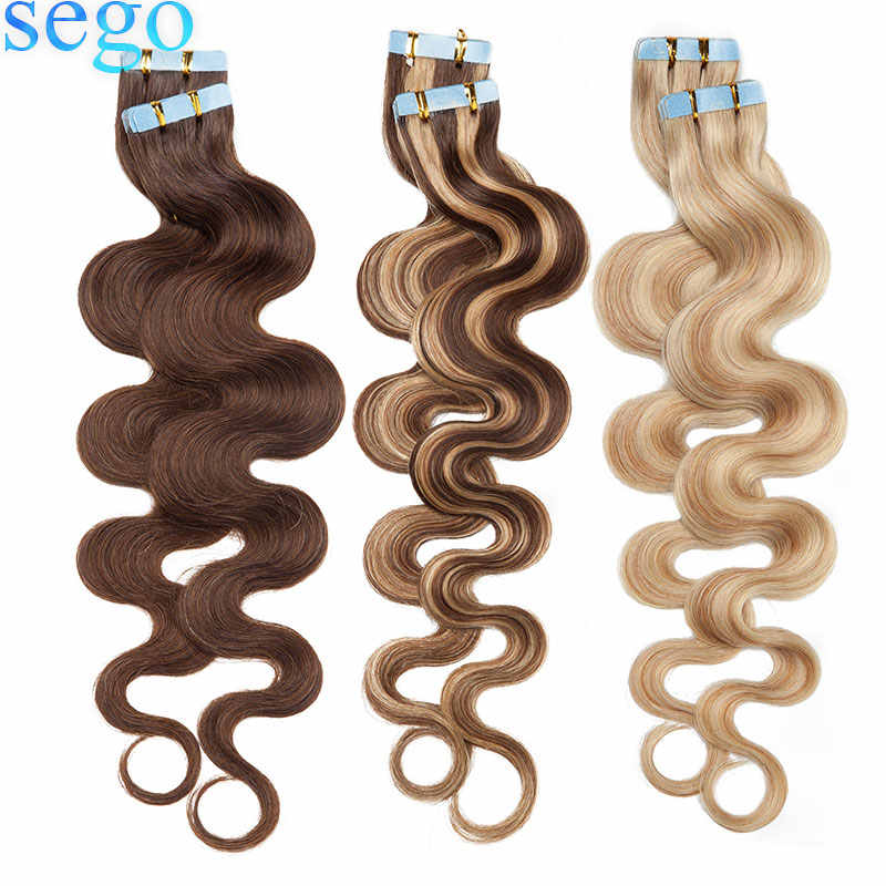 "SEGO 14""-24"" 20/40pcs Body Wave Band In Human Hair Extensions Tape in Adhesive Seamless Hair Non-Remy Weft Hair 2.5g/pc"