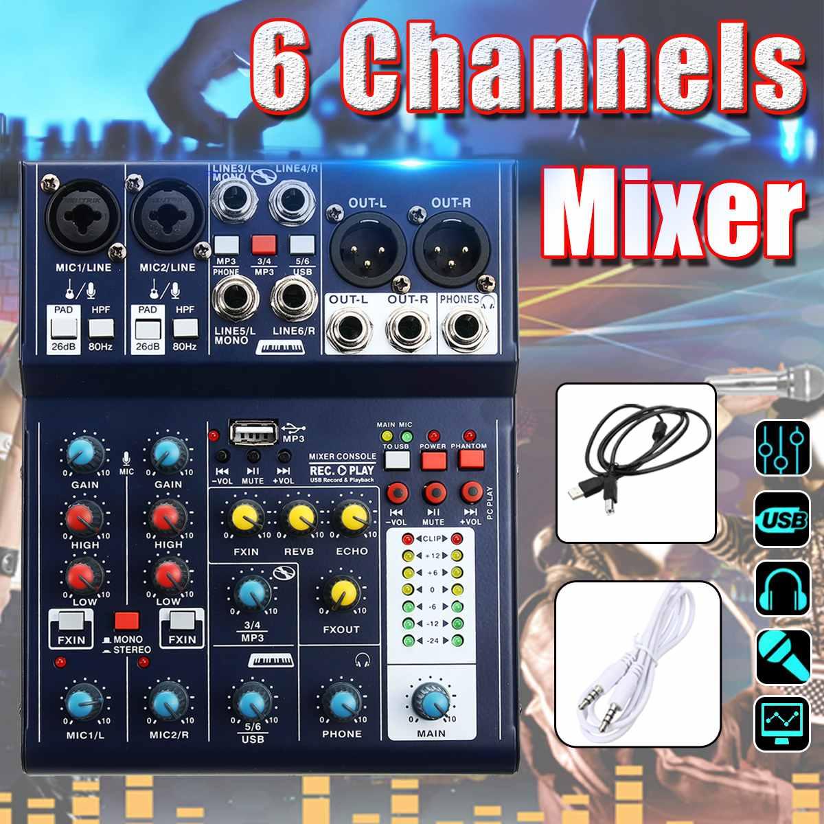 6 canaux karaoké Console de son mixage USB ordinateur d'enregistrement 48V fantôme DSP effet USB Audio mélangeur U disque MP3 pour KTV en direct