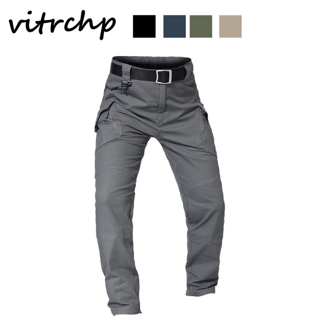VITRCHP 2021 Mens Jogging Track Pant Multiple Pocket Elasticity Military Urban Commuter Tacitcal Trousers Slim Fat Cargo 6