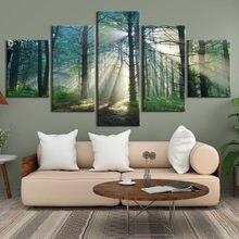 Imagem da parede modular da decoração da casa da pintura da lona natural da árvore impressa hd para a arte da parede