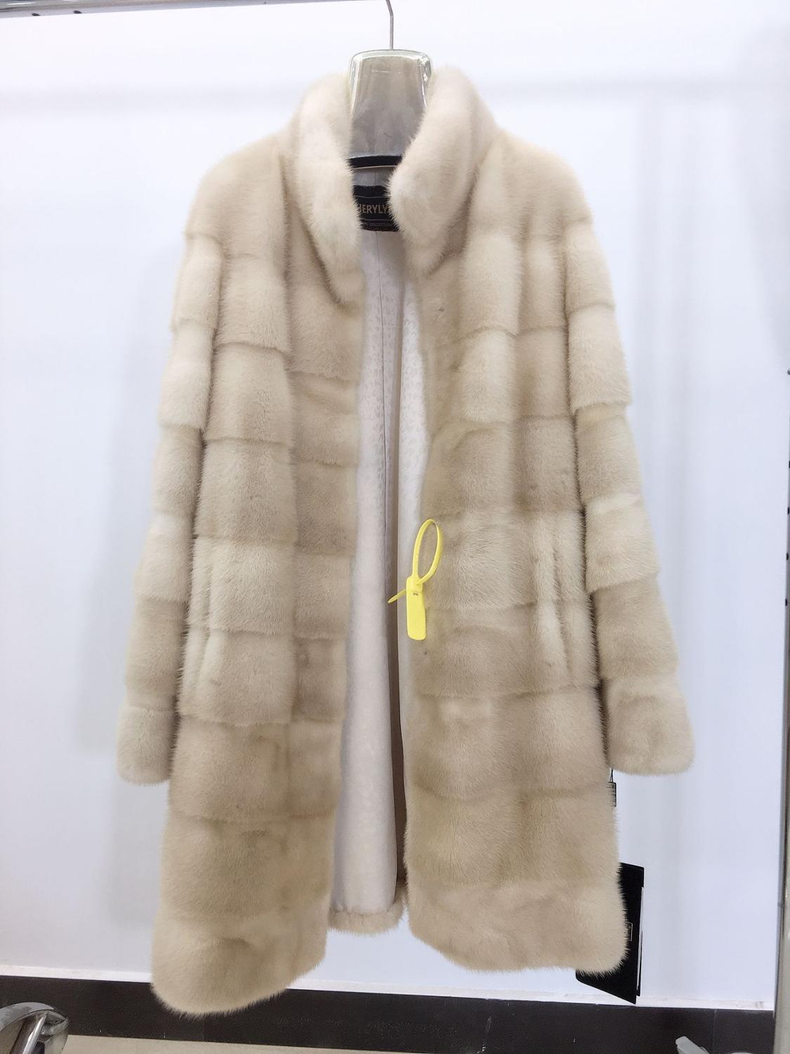 Real Mink Fur Coat Of 2019 New Fashion  With Stand Collar 90cm Length