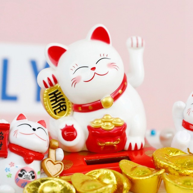 Solar Powered Ceramic Lucky Cat Maneki Neko Shaking Arm Beckoning Fortune Cat Home Car Decoration Gift Wealth Waving Arm Cat 1
