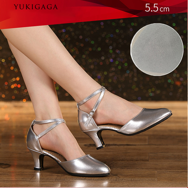 Satin Latin Shoes Women Ladies Closed Toe Tango Waltz Modern Dance Heels Indoor