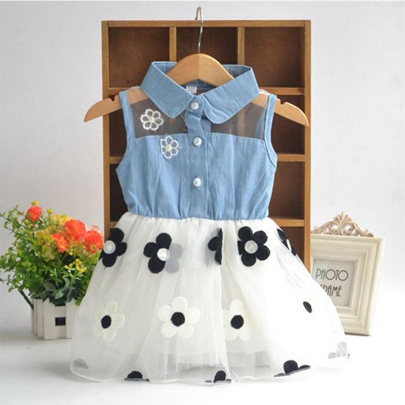 Menina denim vestido moda rendas vestidos de flores outono crianças roupas princesa vestido botão 2-9 anos roupas da menina vestido
